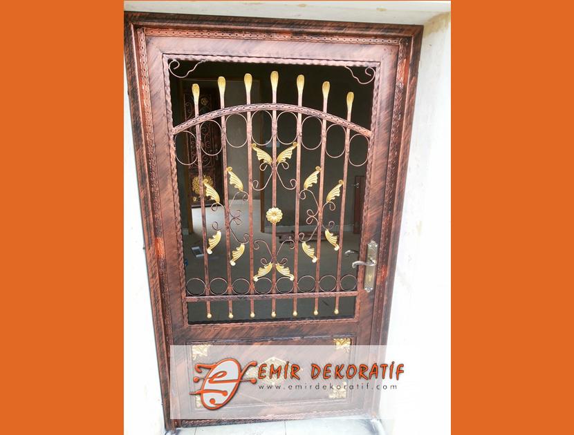 ferforje bakır desenli kapı